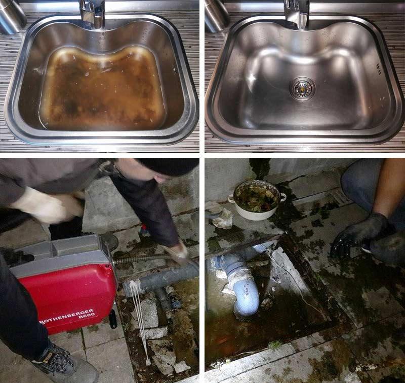 Отпушване на запушени мивки